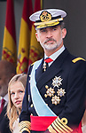 King Felipe VI of Spain and Princess Leonor of Asturias during the Military parade because of the Spanish National Holiday. October 12, 2019.. (ALTERPHOTOS/ Francis Gonzalez)