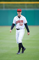 Indianapolis Indians right fielder Austin Meadows (13) during warmups before a game against the Toledo Mud Hens on May 2, 2017 at Victory Field in Indianapolis, Indiana.  Indianapolis defeated Toledo 9-2.  (Mike Janes/Four Seam Images)