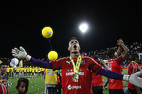 MEDELLÍN -COLOMBIA-19-JUNIO-2016. Jugadores  del Deportivo Independiente Medellín  celebran al ganar el campeonato nacional de fútbol Liga Aguila 2016 I al vencer al Atlético Junior   durante partido por la final vuelta de la Liga Águila I 2016 jugado en el estadio Atanasio Girardot ./ Players of Medellin  celebrate winning the  final soccer  national league  the 2016 I Liga Aguila   match between Independiente Medellin and Atletico Junior during the match for final the Aguila League I 2016 played at Atanasio Girardot  stadium in Medellin . Photo: VizzorImage / Felipe Caicedo  / Staff
