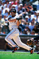 SAN FRANCISCO, CA - Jeff Kent of the San Francisco Giants bats against the Montreal Expos during a game at AT&T Park in San Francisco, California in 2000. Photo by Brad Mangin