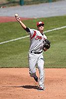 Carolina Mudcats first baseman James Roberts (36) warmup throw to first during a game against the Frederick Keys on April 26, 2014 at Harry Grove Stadium in Frederick, Maryland.  Carolina defeated Frederick 4-2.  (Mike Janes/Four Seam Images)