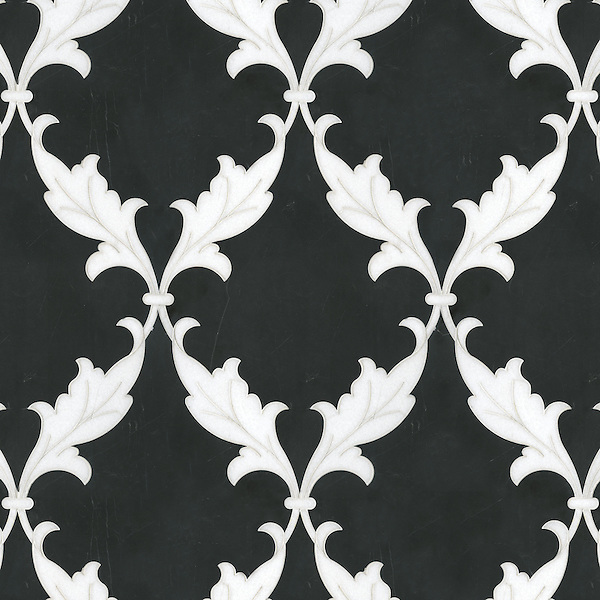Tamara, a natural stone waterjet mosaic shown in Nero Marquina and Thassos, is part of the Silk Road collection by Sara Baldwin for New Ravenna. <br />