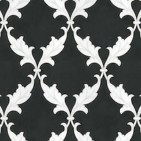 Tamara, a natural stone waterjet mosaic shown in Nero Marquina and Thassos, is part of the Silk Road Collection by Sara Baldwin for New Ravenna Mosaics. <br />