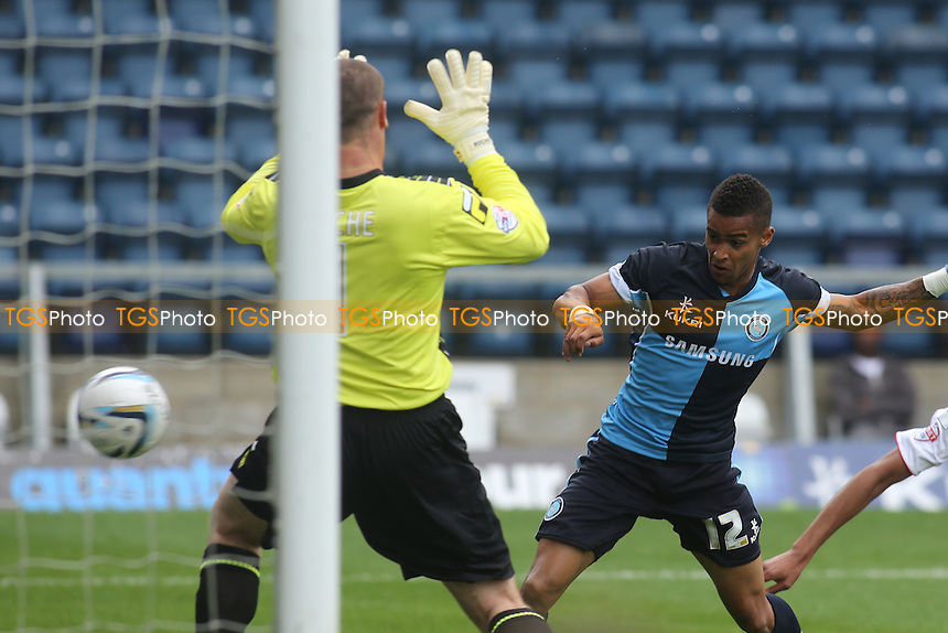 Paris Cowan-Hall scores Wycombe's only goal of the game with a close range header - Wycombe Wanderers vs Morecambe - Sky Bet League Two Football at Adams Park, High Wycombe, Buckinghamshire - 03/08/13 - MANDATORY CREDIT: Paul Dennis/TGSPHOTO - Self billing applies where appropriate - 0845 094 6026 - contact@tgsphoto.co.uk - NO UNPAID USE