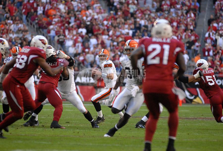 Dec. 2, 2007; Glendale, AZ, USA; Cleveland Browns quarterback Derek Anderson (3) against the Arizona Cardinals at University of Phoenix Stadium. Arizona defeated Cleveland 27-21. Mandatory Credit: Mark J. Rebilas-US PRESSWIRE
