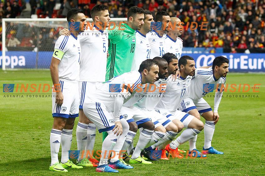 Israel's team photo with Eran Zahavi, Rami Gershon, Ofir Marciano, Eytan Tibi, Daniel Einbinder, Tal Ben Chaim, Bribas Natcho, Eli Dasa, Lior Refaelov, Shir Tzedek and Almog Cohen during FIFA World Cup 2018 Qualifying Round match. <br /> Gijon 24-03-2017 Stadio El Molinon <br /> Qualificazioni Mondiali <br /> Spagna - Israele <br /> Foto Acero/Alterphotos/Insidefoto <br /> ITALY ONLY