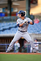 Mobile BayBears first baseman Matt Thaiss (21) at bat during a game against the Mississippi Braves on May 7, 2018 at Trustmark Park in Pearl, Mississippi.  Mobile defeated Mississippi 5-0.  (Mike Janes/Four Seam Images)