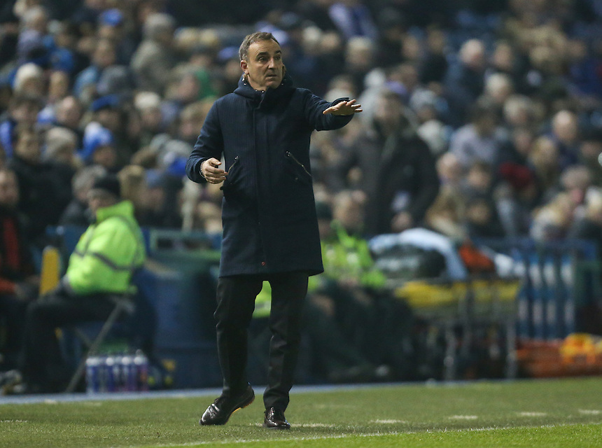Sheffield Wednesday manager Carlos Carvalhal shouts instructions to his team from the dug-out<br /> <br /> Photographer Alex Dodd/CameraSport<br /> <br /> The EFL Sky Bet Championship - Sheffield Wednesday v Blackburn Rovers - Tuesday 14th February 2017 - Hillsborough - Sheffield<br /> <br /> World Copyright &copy; 2017 CameraSport. All rights reserved. 43 Linden Ave. Countesthorpe. Leicester. England. LE8 5PG - Tel: +44 (0) 116 277 4147 - admin@camerasport.com - www.camerasport.com