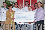 CHARITY PRESENTATION: Kate Hatter of Kerry Women's Refuse & Support Services being presented with a cheque for EUR2,500 on Thursday morning by Tralee IT from there fund raiser, A Taste Of Kerry, Gala Charity Dinner Night. L-r: Kate Hatter, T.J. O'Connor, Simon Regan, Dennis Dennehy, Noel Enright, Patricia Teehan, David Norris and Fergus Dunne.   Copyright Kerry's Eye 2008