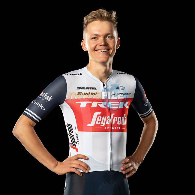 The London Rouleur Classic event provided the venue for today's unveiling of the new Trek-Segafredo men's and women's kits for the upcoming 2020 racing season. Toms Skujins (LAT) models the men's kit. Trek-Segafredo also announced that the partnership with Santini would continue for the next three years. 1st November 2019.<br /> Picture: Trek Factory Racing | Cyclefile<br /> <br /> <br /> All photos usage must carry mandatory copyright credit (© Cyclefile | Trek Factory Racing)