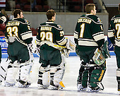 Alex Vazzano (Vermont - 33), Rob Madore (Vermont - 29), John Vazzano (Vermont - 1) - The visiting University of Vermont Catamounts tied the Boston University Terriers 3-3 in the opening game of their weekend series at Agganis Arena in Boston, Massachusetts, on Friday, February 25, 2011.