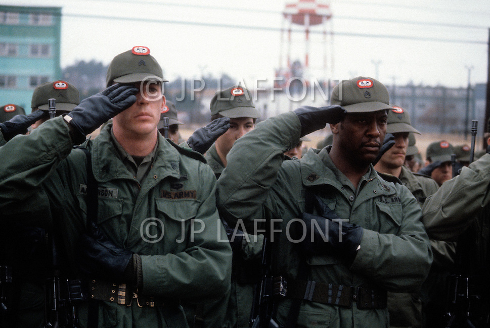 Fort Bragg, North Carolina - January 1980. Picture taken of members of the 82nd Airborne Division at Fort Bragg. The 82nd Airborne Division, founded in 1917, is an active duty airborne division of the United States Army, and specializes in parachute assault operations.