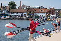"""Henley on Thames, United Kingdom, 6th July 2018, Friday, View,"""" Y Quad Cities"""", coach, Peter SHARIS, carries the Oars/Blades of the dock after his  crews, Heat of the """"Diamond Jubilee Challenge Cup"""",  vs,  """"Henley Rowing  Club"""" """"Third day"""", of the annual,  """"Henley Royal Regatta"""", Henley Reach, River Thames, Thames Valley, England, © Peter SPURRIER,"""