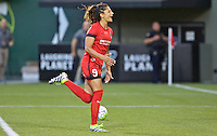Portland, Oregon - Saturday July 2, 2016: Portland Thorns FC forward Nadia Nadim (9) reacts after making a penalty kick during a regular season National Women's Soccer League (NWSL) match at Providence Park.