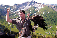 Liechtenstein  Malbun  June 2008.Small town high in the Alpine (southeastern)..Falconry Center.The falconer Norman  Vogeli with Golden eagles (Aquila chrysaetos) he explains the falconry you have children..www.galina.li...