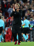 Jurgen Klopp manager of Liverpool celebrates after the Champions League playoff round at the Anfield Stadium, Liverpool. Picture date 23rd August 2017. Picture credit should read: Lynne Cameron/Sportimage