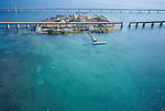 Aerial  views of Seven Mile Bridge over Keys
