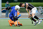 GER - Mannheim, Germany, May 16: During the whitsun tournament boys hockey match between Germany (black) and The Netherlands (orange) on May 16, 2016 at Mannheimer HC in Mannheim, Germany. Final score 4-3 (HT 2-0). (Photo by Dirk Markgraf / www.265-images.com) *** Local caption *** Flip Wijsman (GK) #1 of The Netherlands, Luca Wolff #19 of Germany (U16)