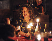 Winemaker Gary Pisoni entertains guests in the cellar of his farmhouse in Gonzales, California in 2012.