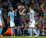 Morgan Schneiderlin of Everton  points at Sergio Aguero of Manchester City after his red card during the Premier League match at the Eithad Stadium, Manchester. Picture date 21st August 2017. Picture credit should read: Simon Bellis/Sportimage