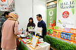 Exhibitors introduce Japanese halal products to visitors at the Japan Halal Expo 2015 on November 25, 2015, Chiba, Japan. The Japan Halal Expo 2015 is a trade show which introduces various Japanese Halal products and services held at Makuhari Messe International Convention Complex. About 100 companies and organizations attend this year's two day event aiming to make Japan more friendly to Muslim visitors. This year's main sponsor is YouCoJapan, a website which provides information for Muslim travelers to Japan and business consultation about the Muslim markets. Organizers estimated that approximately 3,280 visitors attended in 2014 and similar numbers are expected this year. In 2013, the Japan National Tourist Organisation reported that the tourists from Muslim-Majority countries including Malaysia and Indonesia increased thanks to visa relaxations, and Japan hopes to continue to attract even more. (Photo by Rodrigo Reyes Marin/AFLO)