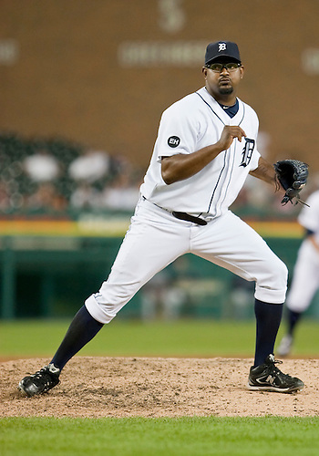 June 15, 2010: Detroit Tigers relief pitcher Jose Valverde (#46) comes in to close the game in action between the Washington Nationals and the Detroit Tigers at Comerica Park in Detroit, Michigan.  The Tigers defeated the Nationals 7-4..