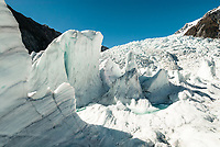 Beautiful icy features on Franz Josef Glacier, Westland Tai Poutini National Park, West Coast, UNESCO World Heritage Area, New Zealand, NZ