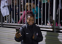 Boyds, MD - Saturday September 30, 2017: Francisca Ordega and fans during a regular season National Women's Soccer League (NWSL) match between the Washington Spirit and the Seattle Reign FC at Maureen Hendricks Field, Maryland SoccerPlex.