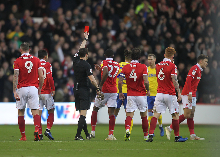 Leeds United's Kalvin Phillips is sent off by ref Darren England<br /> <br /> Photographer Mick Walker/CameraSport<br /> <br /> The EFL Sky Bet Championship - Nottingham Forest v Leeds United - Tuesday 1st January 2019 - The City Ground - Nottingham<br /> <br /> World Copyright © 2019 CameraSport. All rights reserved. 43 Linden Ave. Countesthorpe. Leicester. England. LE8 5PG - Tel: +44 (0) 116 277 4147 - admin@camerasport.com - www.camerasport.com