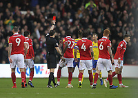Leeds United's Kalvin Phillips is sent off by ref Darren England<br /> <br /> Photographer Mick Walker/CameraSport<br /> <br /> The EFL Sky Bet Championship - Nottingham Forest v Leeds United - Tuesday 1st January 2019 - The City Ground - Nottingham<br /> <br /> World Copyright &copy; 2019 CameraSport. All rights reserved. 43 Linden Ave. Countesthorpe. Leicester. England. LE8 5PG - Tel: +44 (0) 116 277 4147 - admin@camerasport.com - www.camerasport.com