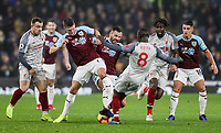 Burnley's Johann Guomundsson and Phillip Bardsley competing with Liverpool's Naby Keita<br /> <br /> Photographer Andrew Kearns/CameraSport<br /> <br /> The Premier League - Burnley v Liverpool - Wednesday 5th December 2018 - Turf Moor - Burnley<br /> <br /> World Copyright &copy; 2018 CameraSport. All rights reserved. 43 Linden Ave. Countesthorpe. Leicester. England. LE8 5PG - Tel: +44 (0) 116 277 4147 - admin@camerasport.com - www.camerasport.com