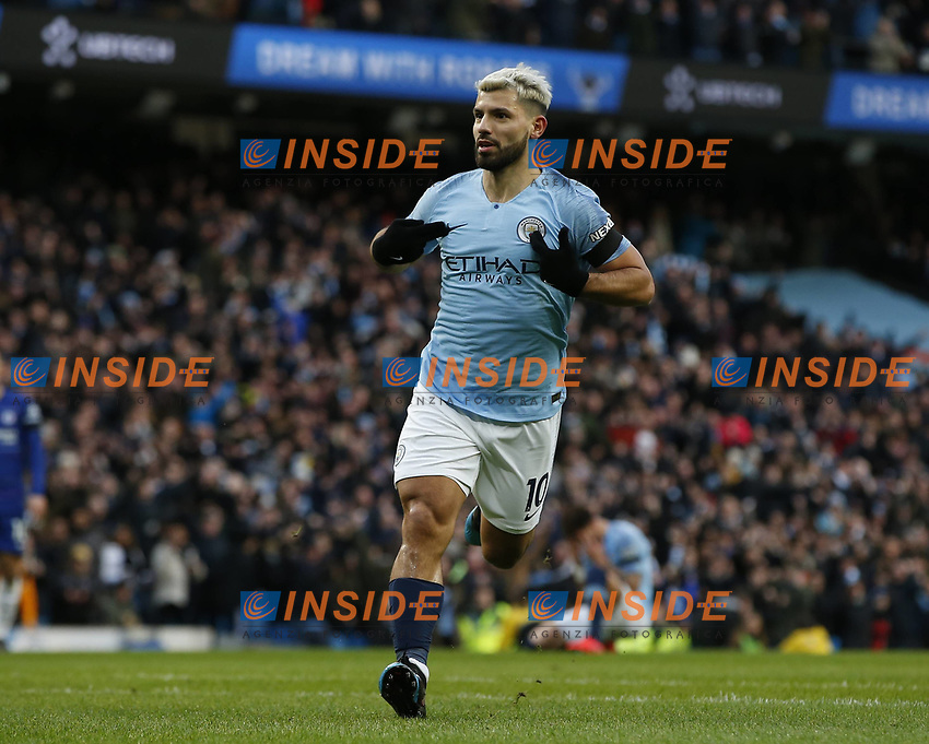 Sergio Aguero of Manchester City celebrates scoring the second goal during the Premier League match at the Etihad Stadium, Manchester. Picture date: 10th February 2019. Picture credit should read: Andrew Yates/Sportimage/Imago/Insidefoto PUBLICATIONxNOTxINxUK _AY13088.JPG  <br /> ITALY ONLY