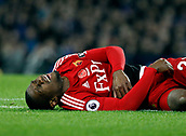 5th November 2017, Goodison Park, Liverpool, England; EPL Premier League Football, Everton versus Watford; Christian Kabasele of Watford lies injured shortly before being carried off the pitch in the second half