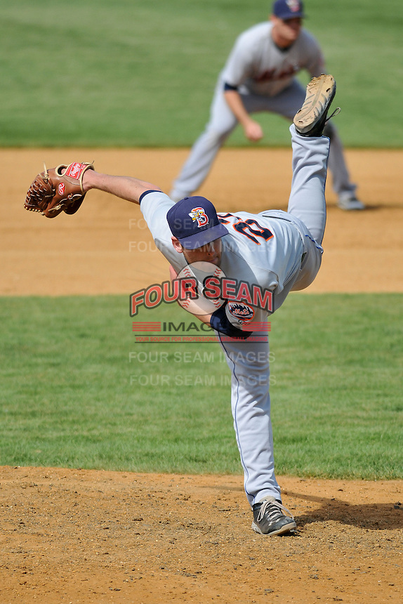 Adam Kolarek (22) of the Binghamton Mets pitches during a game against the New Britain Rock Cats at New Britain Stadium on June 1, 2014 in New Britain, Connecticut.  New Britain defeated Binghamton 6-1.  (Gregory Vasil/Four Seam Images)