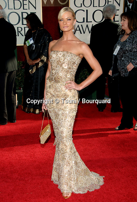 Jamie Pressly arriving at the Golden Globes Awards at the Beverly Hilton Hotel in Los Angeles. January 16, 2006.
