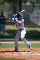 AZL Royals Warling Vicente (15) at bat during an Arizona League game against the AZL Dodgers Lasorda on July 4, 2019 at Camelback Ranch in Glendale, Arizona. The AZL Royals defeated the AZL Dodgers Lasorda 4-1. (Zachary Lucy/Four Seam Images)