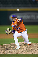 Clemson Tigers relief pitcher Jacob Hennessy (32) in action against the Charlotte 49ers at BB&T BallPark on March 26, 2019 in Charlotte, North Carolina. The Tigers defeated the 49ers 8-5. (Brian Westerholt/Four Seam Images)