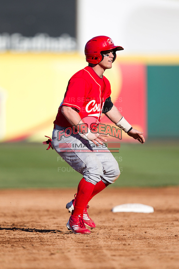 Brian Sipe (15) of the Southern Illinois University- Edwardsville Cougars takes a lead off of second base during a game against the Missouri State Bears at Hammons Field on March 9, 2012 in Springfield, Missouri. (David Welker / Four Seam Images)
