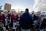 Los Angeles, CA 02/26/11 - Coach Craig Hochstadt discusses game strategy before the start of the LMU-USC game.
