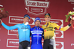 Julian Alaphilippe (FRA) Deceuninck-Quick Step wins Strade Bianche 2019 with Jakob Fuglsang (DEN) Astana Pro Team 2nd place and Wout Van Aert (BEL) Team Jumbo-Visma in 3rd place, running 184km from Siena to Siena, held over the white gravel roads of Tuscany, Italy. 9th March 2019.<br /> Picture: Eoin Clarke | Cyclefile<br /> <br /> <br /> All photos usage must carry mandatory copyright credit (&copy; Cyclefile | Eoin Clarke)