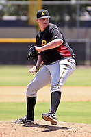 July 16, 2009:  Pitcher Brooks Pounders delivers a pitch during a game against the GCL Yankees at the Yankees Training Complex in Tampa, FL. Pounders was taken in the second (2nd) round of the 2009 MLB draft. The GCL Pirates are the Gulf Coast Rookie League affiliate of the Pittsburgh Pirates. Photo By Mark LoMoglio/Four Seam Images