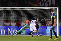 6th November 2019, Paris France; UEFA Champions league football, Paris St German versus Brugges;  KEYLOR NAVAS  saving the PENALTY from  PRESNEL KIMPEMBE PSG
