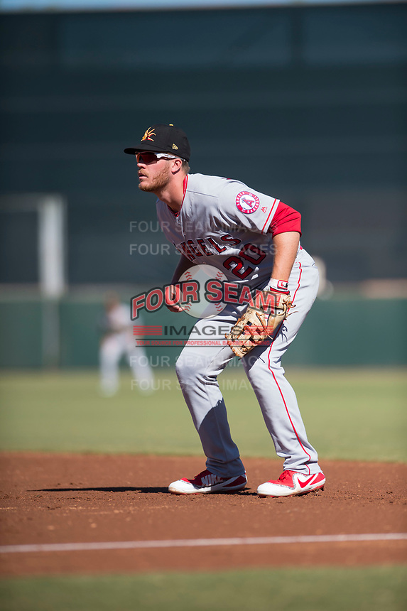 Mesa Solar Sox first baseman David MacKinnon (20), of the Los Angeles Angels organization, during an Arizona Fall League game against the Scottsdale Scorpions at Scottsdale Stadium on November 2, 2018 in Scottsdale, Arizona. The shortened seven-inning game ended in a 1-1 tie. (Zachary Lucy/Four Seam Images)