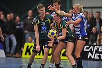 KORFBAL: GORREDIJK: Sport- en Ontspanningscentrum Kortezwaag, 27-11-2013, LDODK - AKC BLAUW WIT, Eindstand 25-28, Menno Russchen (#20 | LDODK), Marjon Visser (#1 | LDODK), Fenje Haenen (#5 |AKC), ©foto Martin de Jong