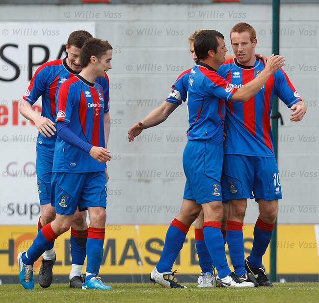 Adam Rooney (R) takes the acclaim after scoring the second goal for Inverness