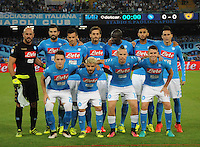 Napoli's players during the  italian serie a soccer match,between SSC Napoli and AC Chievo       at  the San  Paolo   stadium in Naples  Italy , September 25, 2016