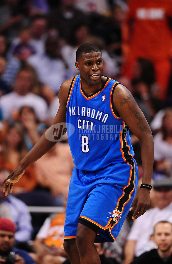 Mar. 30, 2011; Phoenix, AZ, USA; Oklahoma City Thunder center Nazr Mohammed against the Phoenix Suns at the US Airways Center. Mandatory Credit: Mark J. Rebilas-