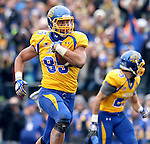 BROOKINGS, SD - OCTOBER 5:  Cam Jones #85 from South Dakota State University rumbles for extra yards against Southern Illinois in the third quarter Saturday afternoon at Coughlin Alumni Stadium in Brookings. (Photo by Dave Eggen/Inertia)