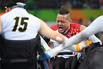 Shin Nakazato (JPN), <br /> SEPTEMBER 18, 2016 - WheelChair Rugby : <br /> 3rd place match Japan - Canada  <br /> at Carioca Arena 1<br /> during the Rio 2016 Paralympic Games in Rio de Janeiro, Brazil.<br /> (Photo by AFLO SPORT)