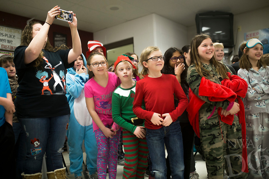 "NWA Democrat-Gazette/CHARLIE KAIJO Cheryl Daniel and her 4th grade class reacts as Mayor Greg Hines (not pictured) ""dabs"", Friday, March 2, 2018 at Bellview Elementary School in Rogers.<br />